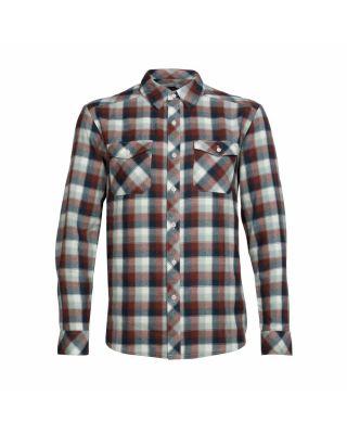 Icebreaker Lodge LS Flannel Shirt - Saddle/Nori Heather/Plaid