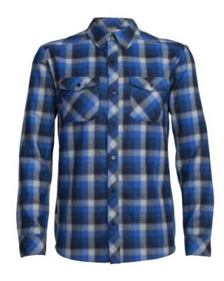 Icebreaker Lodge LS Flannel Shirt - Largo/Midnight Navy/Plaid