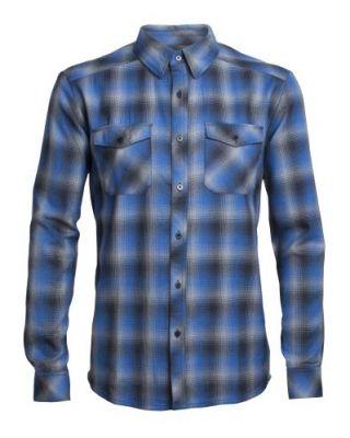 Icebreaker Mens Lodge LS Flannel Shirt - Pelorus/Stealth